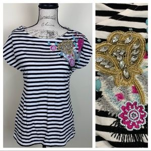 Cynthia Rowley Striped Embellished Top Size Small